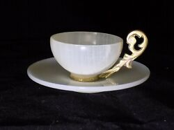 Onyx And Ormalu Demitasse Cup And Saucer- Rare