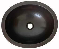 16x13 Oval Copper Bathroom Sink Mexican Hand Hammered Dual Mount Dark Cps01