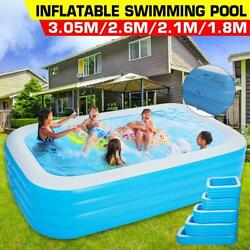 180/210/260/305mm 4layer Rectangle Large Inflatable Swimming Pool Kids Family Pa