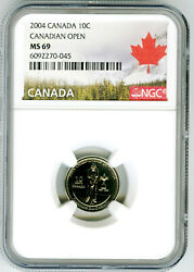 2004 P Canada 10 Cent Dime Canadian Golf Open Ngc Ms69 Rare Mintage Just 39,468
