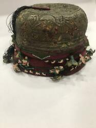 Antique Unique Ottoman Turkish Hat Embroidered With Silver Threads.