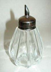 Vintage Glass Bitters Bottle With Metal Tube Octagonal Panel Ribbed Pattern