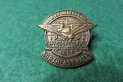 Harley Owners Group Hog 1991 Northeast Rally Vest Badge Hat Pin Pins