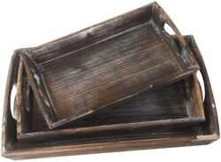 3pack Ottoman Wood Serving Tray With Handles Nesting Set Platter For Coffee Food