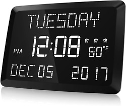 Digital Clock Raynic 11.5quot; Large LED Word Display Dimmable Digital Wall Clock
