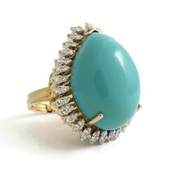 Vintage Pear Turquoise Diamond Halo Cocktail Ring 14k Yellow Gold, 23.2 Grams