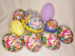 Vintage Easter Bunny Eggs Plastic Lot 9 Pc Containers Basket Candy Holder Box