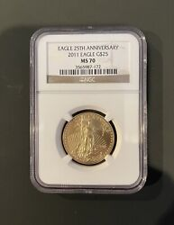 Authentic 2011 American Eagle G25 1/2 Ounce .9999 Gold Ms 70 Ngc 25th Anniv.