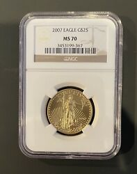 Authentic 2007 American Eagle G25 1/2 Ounce .9999 Gold Ms 70 Ngc