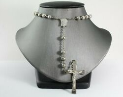 Rare Vintage 1940and039s Mexican El Roble Sterling Silver Rosary 30 Cross Crucifix