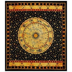Mandala Yellow Horoscope Print Bedcover Indian Double Tapestry Wall Throw Decor