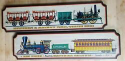 Pair Of Yorkraft Inc. Vintage Wooden Train Wall Plaques, 1831 And 1856 Trains