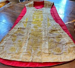 Antique Italian Embroidered Silk And Metallic Chasuble Ww241