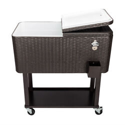 80qt Outdoor Rattan Picnic Party Rolling Cooler Frozen Cart Ice Bee Patio Pinic