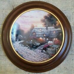Thomas Kinkade Collector Plate Olde Porterfield Tea Room Wooden Frame 1st Issue