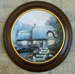 Thomas Kinkade Collector Plate Candlelit Cottage W/wooden Frame Limited Edition