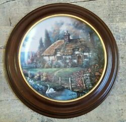 Thomas Kinkade Collector Plate Garden Paths Of Oxfordshire Wooden Frame 1st Iss.