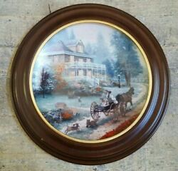 Thomas Kinkade Collector Plate A Carriage Ride Home W/wooden Frame 3rd Issue