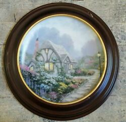 Thomas Kinkade Collector Plate Chandler's Cottage With Wooden Frame