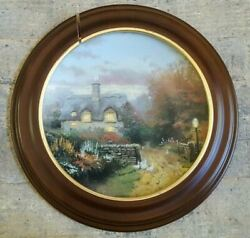 Thomas Kinkade Collector Plate Open Gate Cottage W/wooden Frame Limited Edition