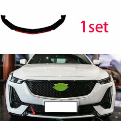 Front Bumper Lip Spoiler Bodykit Refit Black + Red Abs For Cadillac Ct5 19-2020