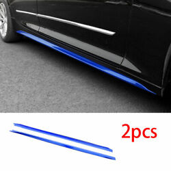 Exterior Door Panel Trim Side Skirts 2pc Abs Blue Fit For Cadillac Ct5 2019-2020