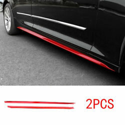 Exterior Door Panel Trim Side Skirts 2pc Abs Red Fit For Cadillac Ct5 2019-2020