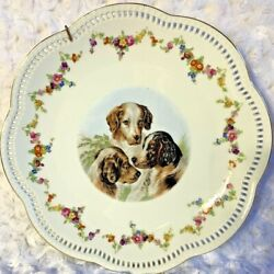 1940s Reticulated Charger Plate Spaniel Dog Floral Schumann Arzberg Germany Vtg