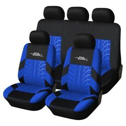 2 Color Track Detail Style Car Seat Covers Set Polyester Fabric Universal Fits