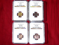 Lot Of 4 Nazi German Swastika Ww2 Ngc Certified Coins 3rd Reich Collection Mint