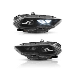 Clear Full Led Headlights Direct Replacement For 2018-2021 Ford Mustang Set
