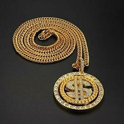 2pcs 18k Goldplated Chain With Dollar Sign Pendant Necklace Old School Hip Hop