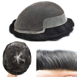 French Lace Mens Toupee Hairpieces Poly Skin Remy Human Hair Replacement System