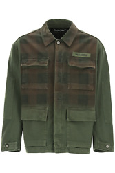 New Palm Angels Military Buffalo Jacket With Logo Print Pmye028s21den001 Militar