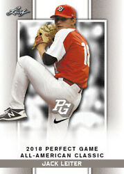 10 Ct Lot 2018 Jack Leiter Leaf Perfect Game Nike Aa Classic Aflac Limited-ed Sp