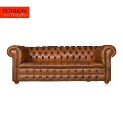 Stunning 20thc Chesterfield Three Seater Leather Sofa With Button Down Seats