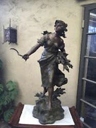 """Antique Large Female French Spelter Statue 37""""h X 24""""w X 16""""d After Moreau"""