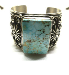 Native American Navajo Hand Made Sterling Silver Royston Turquoise Cuff Bracelet