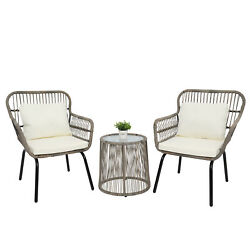 3 Piece Modern Bistro Set Patio Table And 2 Lounge Chairs Cushion Outdoor Wicker