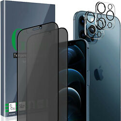 4-pack For Iphone 12 Pro Privacy Tempered Glass Screen 2pcs + 2pcs Glass Camer