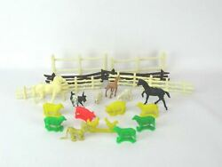 Lot Of 23 Vintage Toy Plastic Farm Animals And Fencing Marx And More