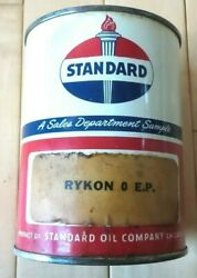 Vintage Original Standard Oil Rykon Grease 1 Pound Full Can -very Good Condition