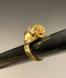 Incredible 18k Gold Enameled Etruscan Revival Sizable Rams Head Ring
