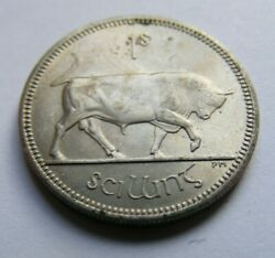 1964 Irish One Shilling Coin Ireland 1 Partial Double Rim Error With Mint Luster