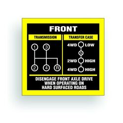 Shift Pattern Transmission Decal Sticker Fits Jeep Willys 4 Speed Transfer Case