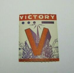 V Victory Ever Ready Label Corp Ny Ww2 Political Prop Ad Cinderella Poster Stamp
