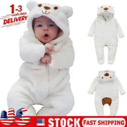 Newborn Baby Boy Girl Kids Bear Hooded Romper Jumpsuit Bodysuit Clothes Outfits $16.99