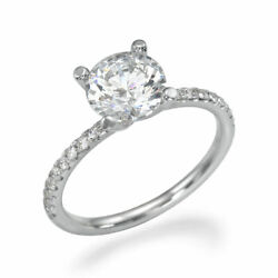 D/si1 Round Cut Diamond Engagement Ring 1.15 Ct 14k White Gold Jewelry