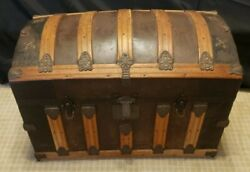 Late 1800and039s Antique Swedish Camelback Ornate Trunk-gorgeous