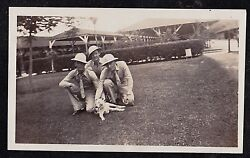 Antique Photograph Three Military Men In Helmets With Cute Puppy Dog On Lawn